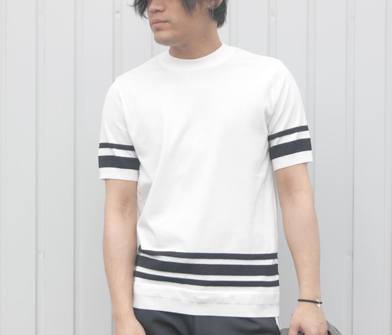 TOMORROWLAND/トゥモローランドのランダムライン半袖ニットTシャツ