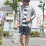 長袖×短パンコーデはテーラードジャケットで大人らしく